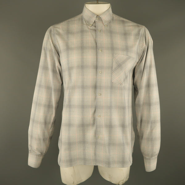 ADAM KIMMEL Size M White & Black Plaid Cotton Button Down Long Sleeve Shirt