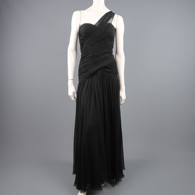 ADELE SIMPSON Size 8 Black Pleated Silk One Shoulder Sweetheart Cocktail Dress