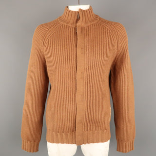 ADOLFO DOMINGUEZ Size L Tan Knitted Wool Hook & Eye Closure Cardigan