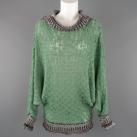 AF VANDERVORST Size S Green & Gray Cotton Blend Batwing Sweater