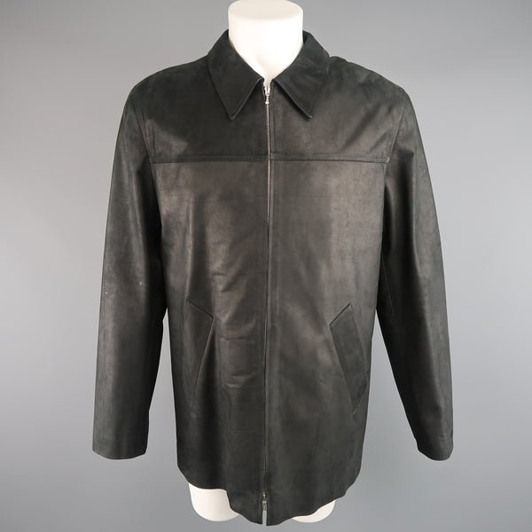 AGNES B. HOMME 40 Black Textured Leather Zip Car Coat - Sui Generis Designer Consignment