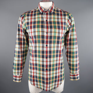 AGNES B. Size S Multi-Color Plaid Cotton Long Sleeve Shirt - Sui Generis Designer Consignment