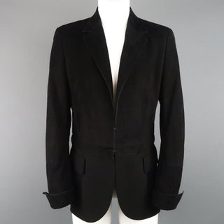 AKRIS Size 10 Black Suede & Wool Zip Off Sport Coat Jacket - Sui Generis Designer Consignment