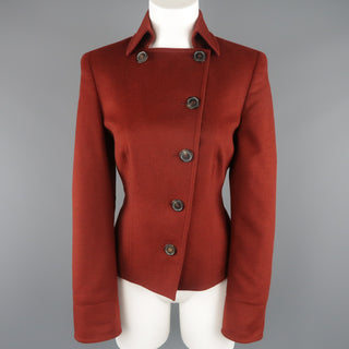 AKRIS Size 10 Burgundy Double Breasted Collared Wool / Angora Jacket - Sui Generis Designer Consignment