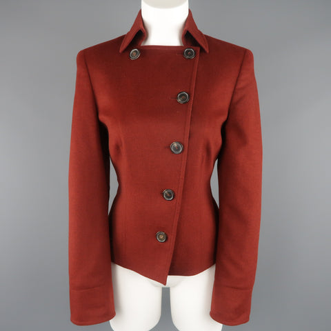 AKRIS Size 10 Burgundy Double Breasted Collared Wool / Angora Jacket