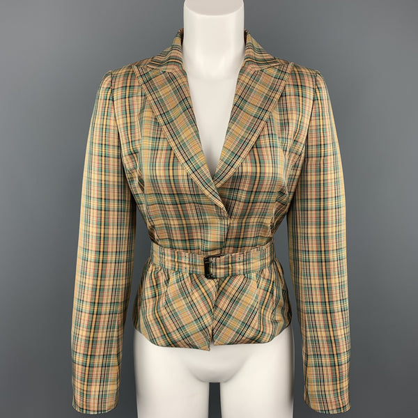 AKRIS Size 8 Gold & Green Plaid Silk  Cropped Belted Blazer