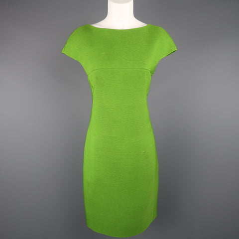AKRIS Size 8 Green Silk Canvas High Neck Pleated Back Cocktail Dress