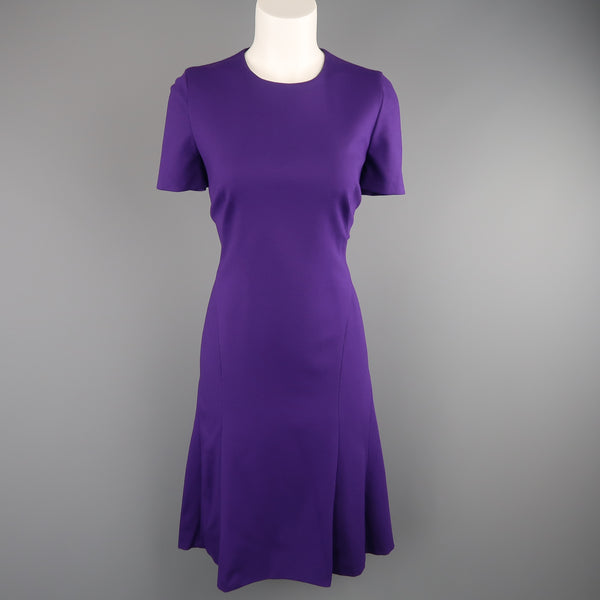 AKRIS Size 8 Purple Jersey Short Sleeve Dress