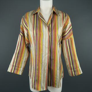 AKRIS Size M Rainbow Striped Textured Silk Collared Tunic Blouse