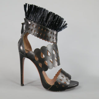 ALAIA Size 8.5 Black Cutout Leather Fringe Ankle Sandals - Sui Generis Designer Consignment