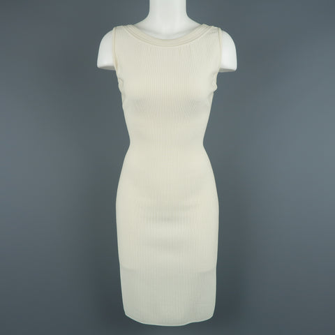 ALAIA Size XS Cream Ribbed Scoop Neck Bodycon Sleeveless Dress