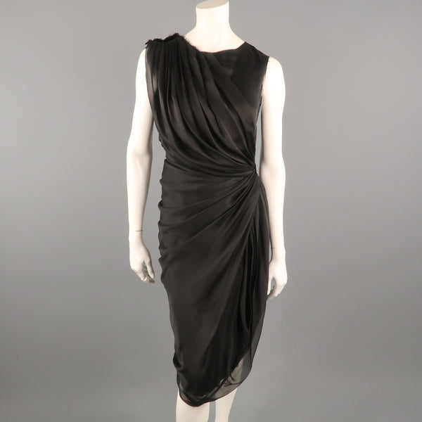 ALBERTA FERRETTI Size 4 Black Silk Draped Overlay Shift Cocktail Dress