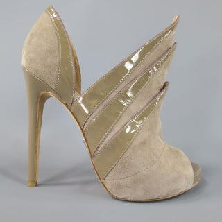 ALEJANDRO INGELMO Size 7 Taupe Suede 'Origami' Peep Toe Boots