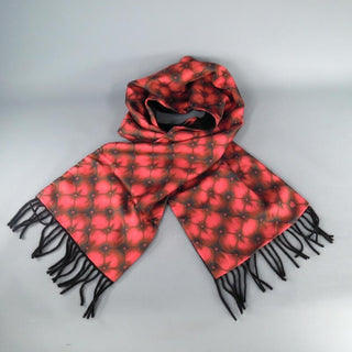 ALEXANDER MCQUEEN Red Tufted Print Satin Fringe Scarf