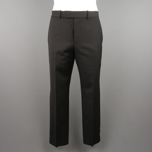 ALEXANDER MCQUEEN Size 35 Black Solid Wool / Mohair Dress Pants