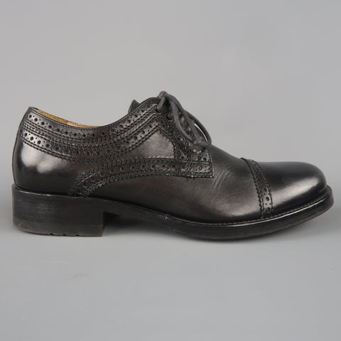 ALEXANDER MCQUEEN Size 8 Black Perforated Leather Lace Up Shoe