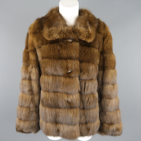 ALTIOLI Size L Brown Sable Fur Collared Jacket