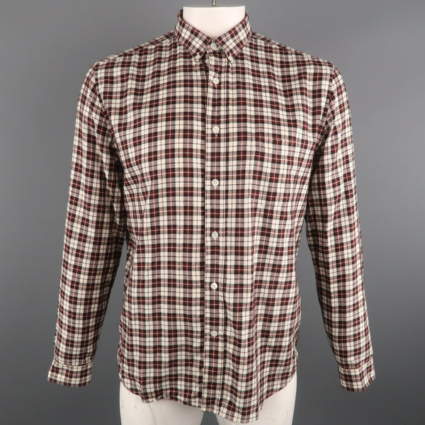 AMI by ALEXANDRE MATTIUSSI Size L Plaid Cotton Button Down Long Sleeve Shirt