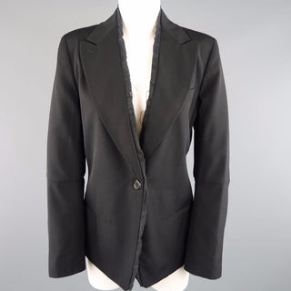 ANN DEMEULEMEESTER Size 6 Black Wool Raw Trim Peak Lapel Blazer