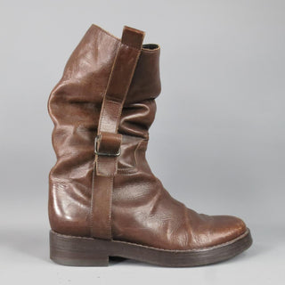 ANN DEMEULEMEESTER Size 7.5 Brown Distressed Leather Workman Belt Boots - Sui Generis Designer Consignment