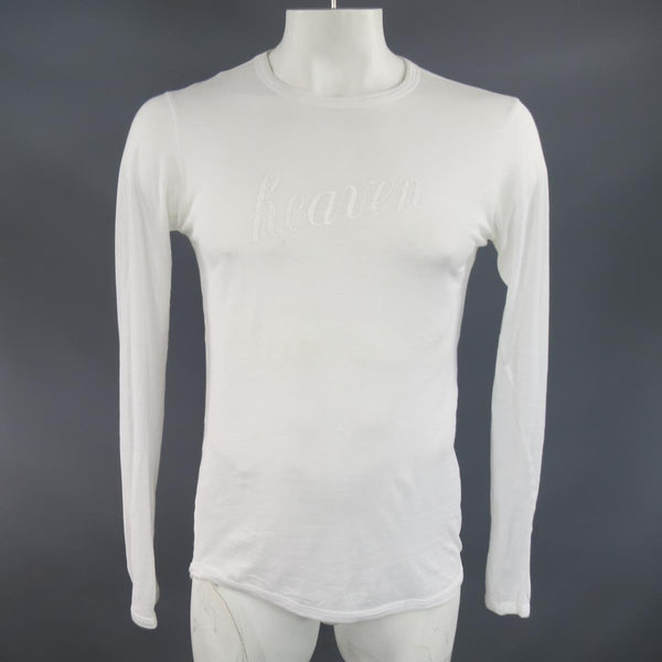 ANN DEMEULEMEESTER Size XS White Sheer Cotton Long Sleeve 'Heaven' T-shirt