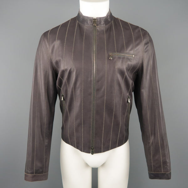 ARMANI COLLEZIONI 40 Purple Stitched Leather Biker Jacket