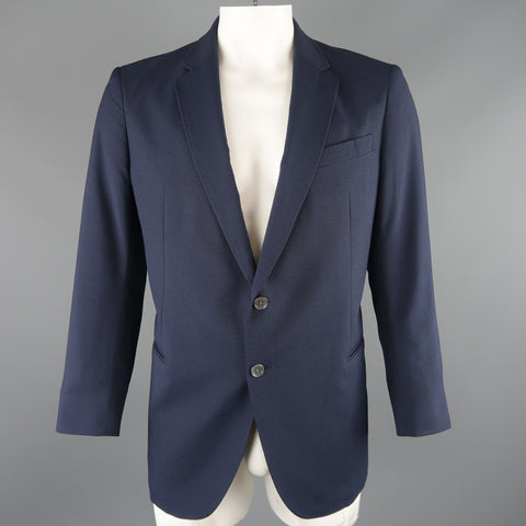ARMANI COLLEZIONI 44 Navy Stripe Textured Notch Lapel 2 Button Sport Coat - Sui Generis Designer Consignment