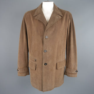 ARMANI COLLEZIONI 46 Taupe Microsuede Pointed Lapel Coat