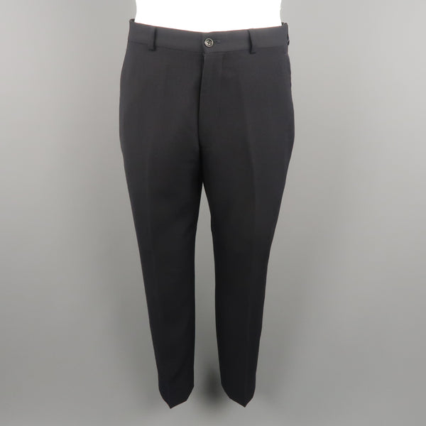 ARMANI COLLEZIONI Size 32 Black Solid Wool 28 Zip Fly Dress Pants
