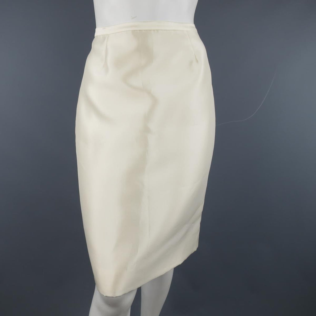 e306a1684a BADGLEY MISCHKA Size 6 Cream Structured Satin Pencil Skirt | Sui Generis  Designer Consignment
