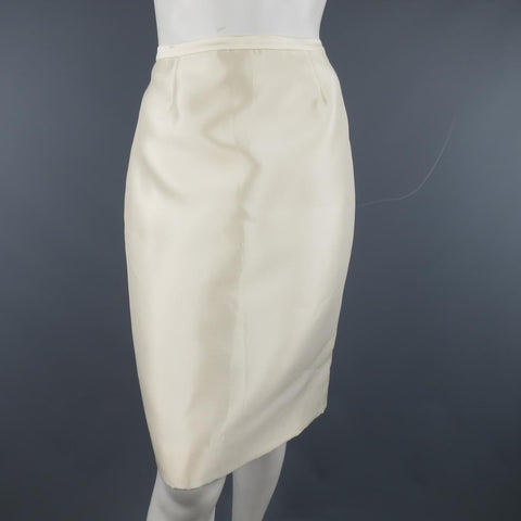 BADGLEY MISCHKA Size 6 Cream Structured Satin Pencil Skirt