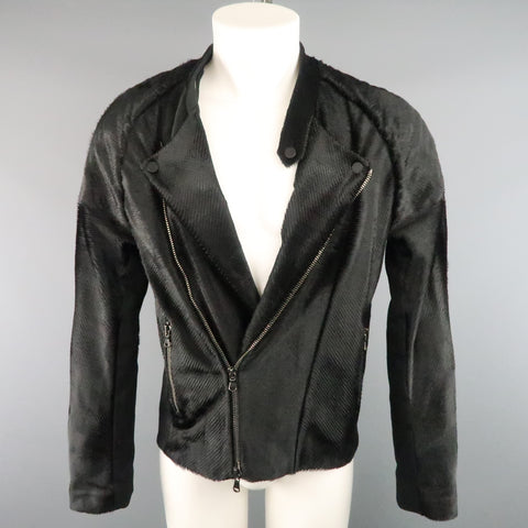BAJA EAST Size M Black Perforated Ponyhair Leather and Twill Biker Jacket