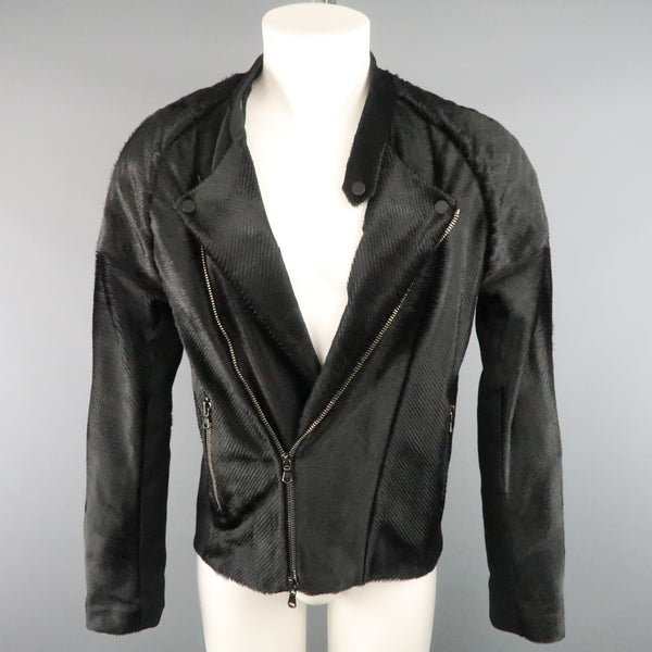 BAJA EAST 40 Black Perforated Ponyhair Leather and Twill Biker Jacket