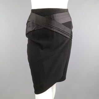 BALENCIAGA Size 4 Black Crepe Pleated Satin Panelled Pencil Skirt