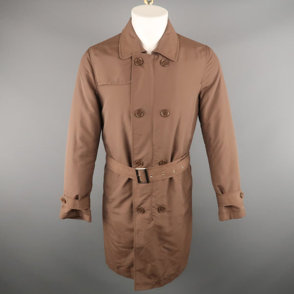 BALLANTYNE Chest Size XS Brown Solid Polyester / Cotton Belted Trenchcoat