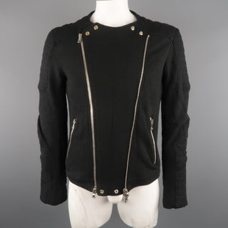 BALMAIN L Black Cotton / Linen Motorcycle Jacket