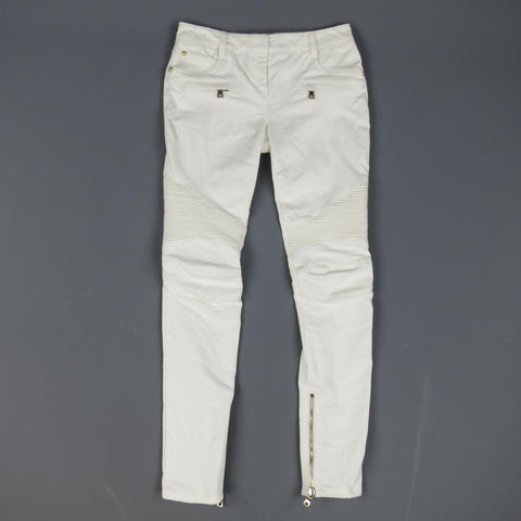 BALMAIN Size 4 White Cotton Gold Zip Moto Jeans