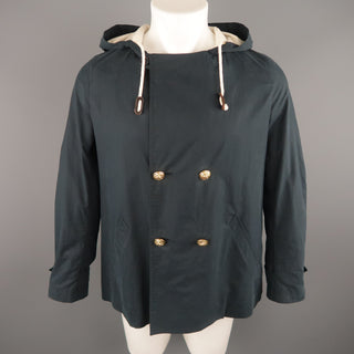BAND OF OUTSIDERS S Navy Cotton Hooded Jacket