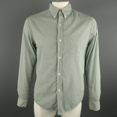 BAND OF OUTSIDERS Size L White & Green  Button Down Long Sleeve Shirt