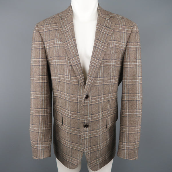 BARNEY'S NEW YORK Chest Size 44 Regular Brown Plaid Cashmere Sport Coat