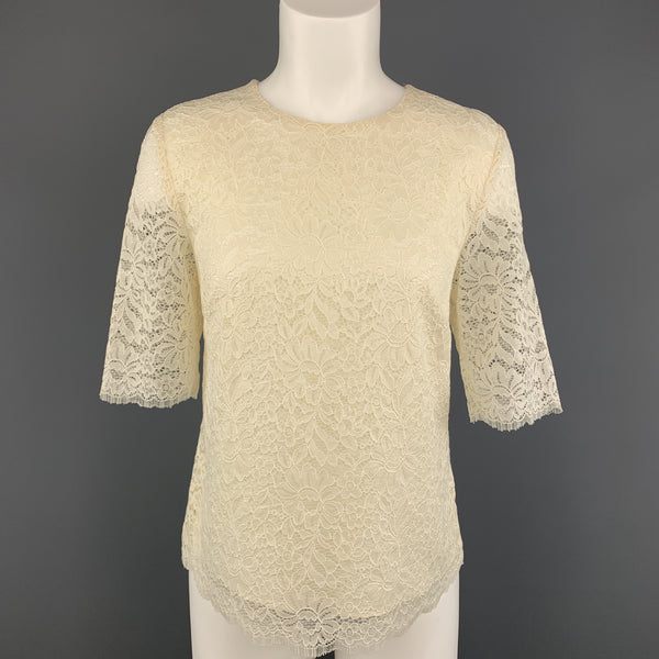 BARNEY'S NEW YORK Size 6 Cream Lace Short Sleeve  Blouse