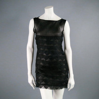 BEHNAZ SARAFPOUR Size 4 Black Silk Layered Texture Cocktail Dress - Sui Generis Designer Consignment