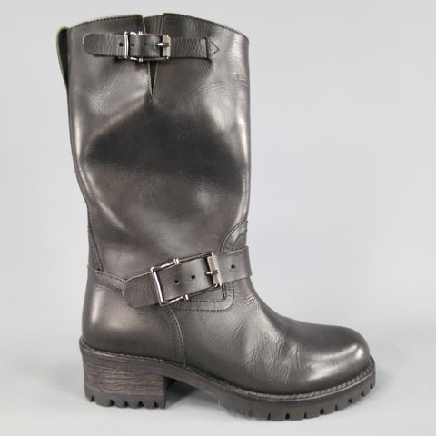 BELSTAFF Size 7 Black Leather FULHAM MOTO Biker Boots