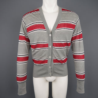 BLACK FLEECE Size S Gray & Stripe Cotton / White Mesh Reversible Cardigan