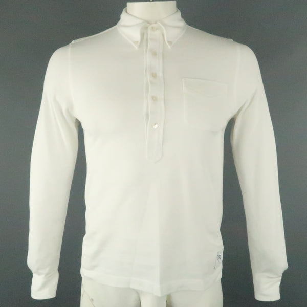 BLACK FLEECE Size S White Solid Pique Button Down Long Sleeve POLO