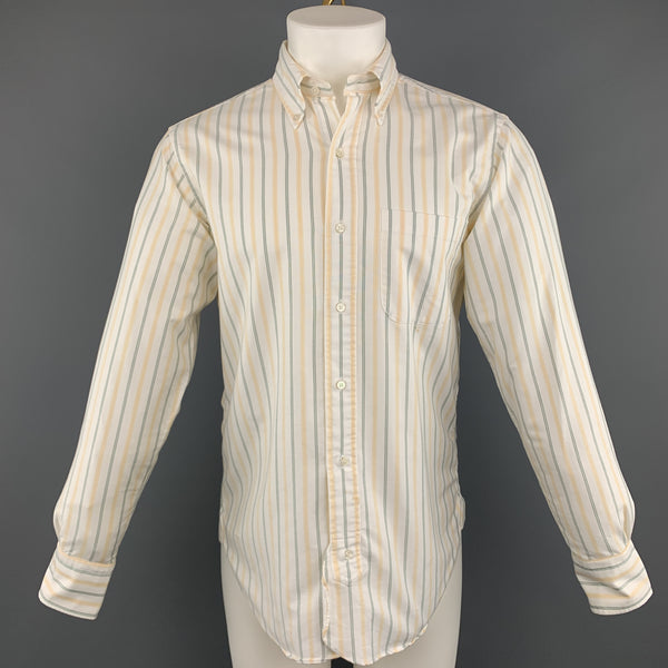 BLACK FLEECE Size S White Stripe Cotton Button Down Long Sleeve Shirt