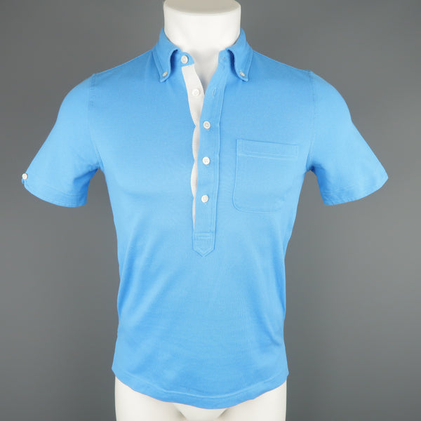 BLACK FLEECE Size XS Blue Pique Button Down Collar POLO