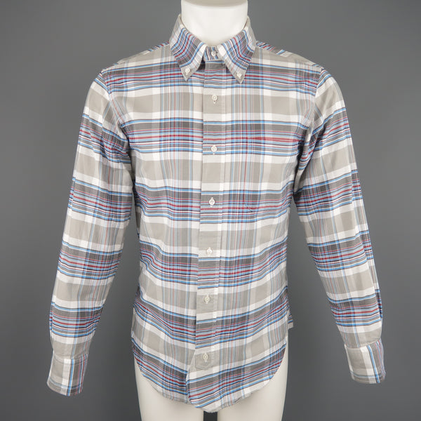 BLACK FLEECE Size XS Gray & Blue Plaid Cotton Long Sleeve Shirt