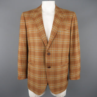 BORRELLI 44 Brown & Gold Plaid Cashmere Sport Coat