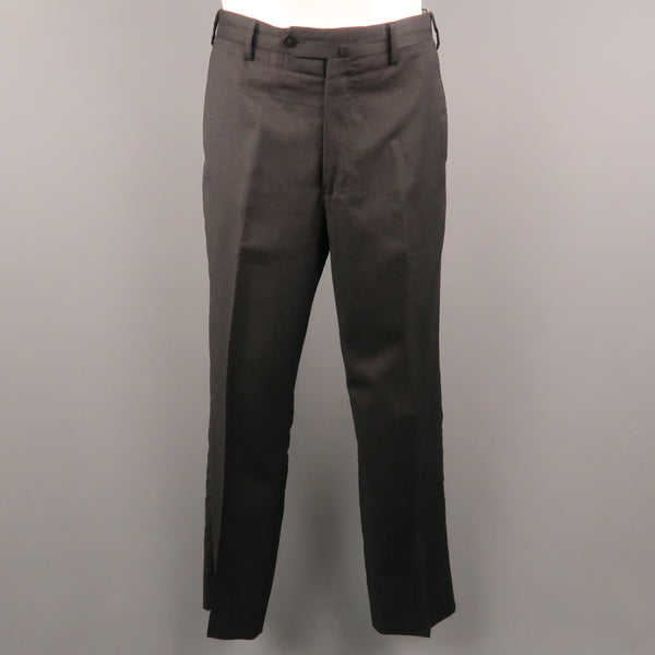 BORRELLI Size 32 Charcoal Solid Lana wool 28 Zip Fly Dress Pants